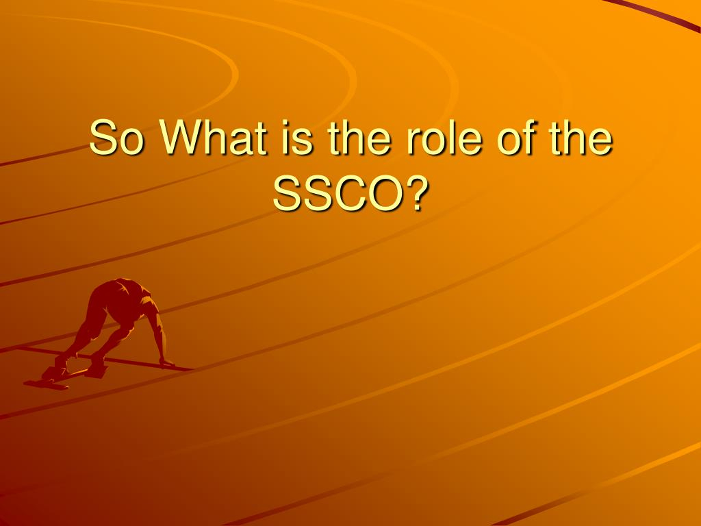 So What is the role of the SSCO?