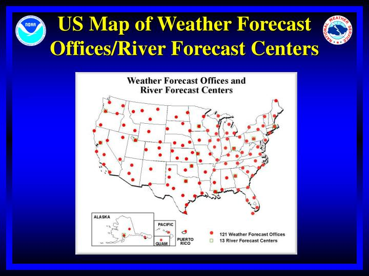 Us map of weather forecast offices river forecast centers