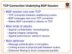 tcp connection underlying bgp session