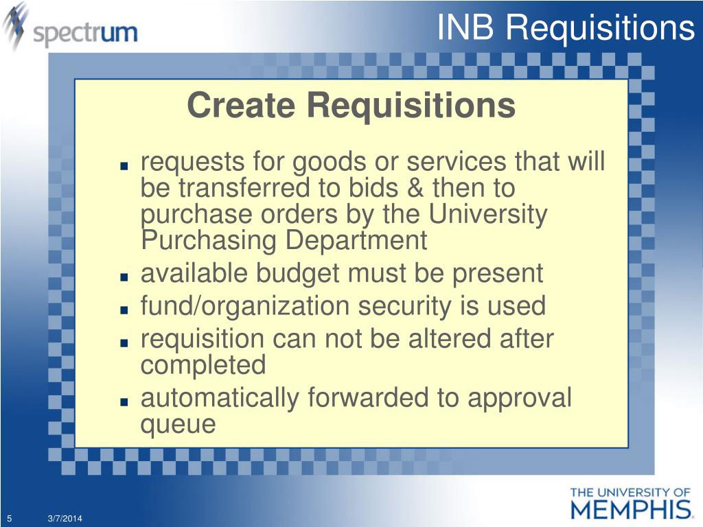 INB Requisitions
