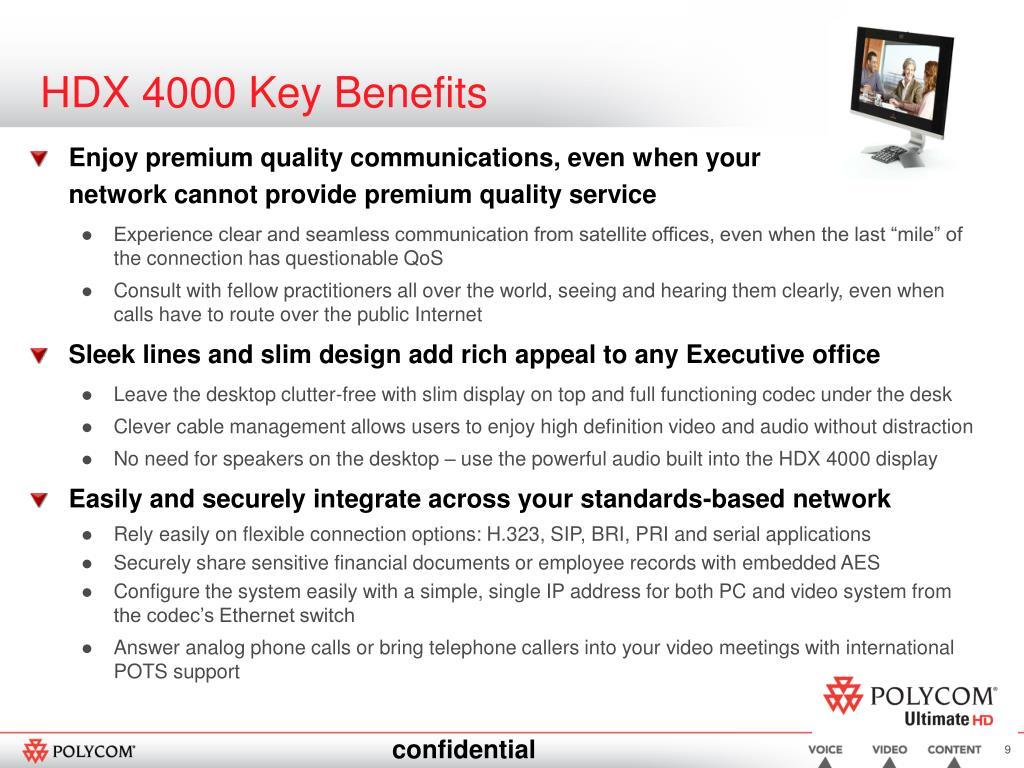 HDX 4000 Key Benefits