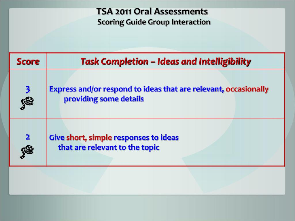 TSA 2011 Oral Assessments