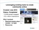 leveraging existing tools to create community online