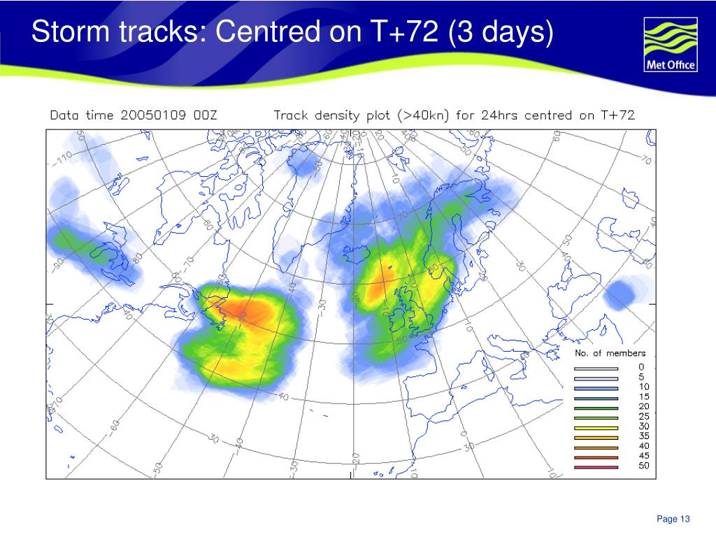 Storm tracks: Centred on T+72 (3 days)