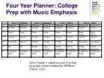 four year planner college prep with music emphasis