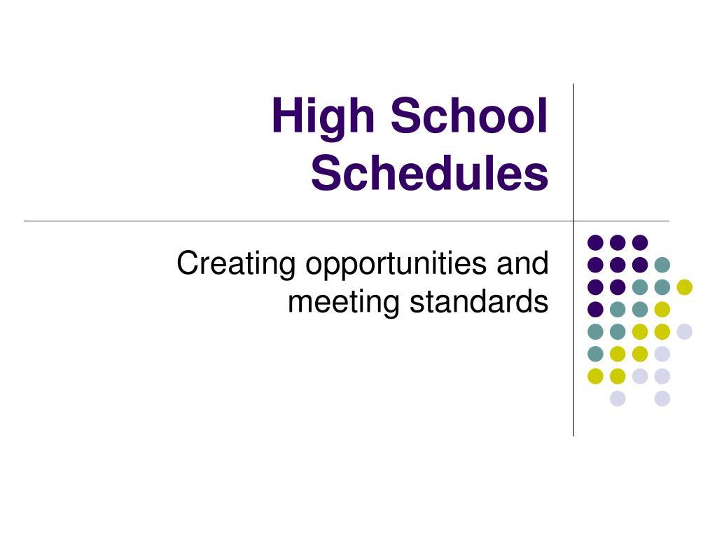 high school schedules