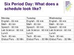 six period day what does a schedule look like