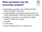 what schedules has the committee studied