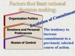 factors that limit rational decision making