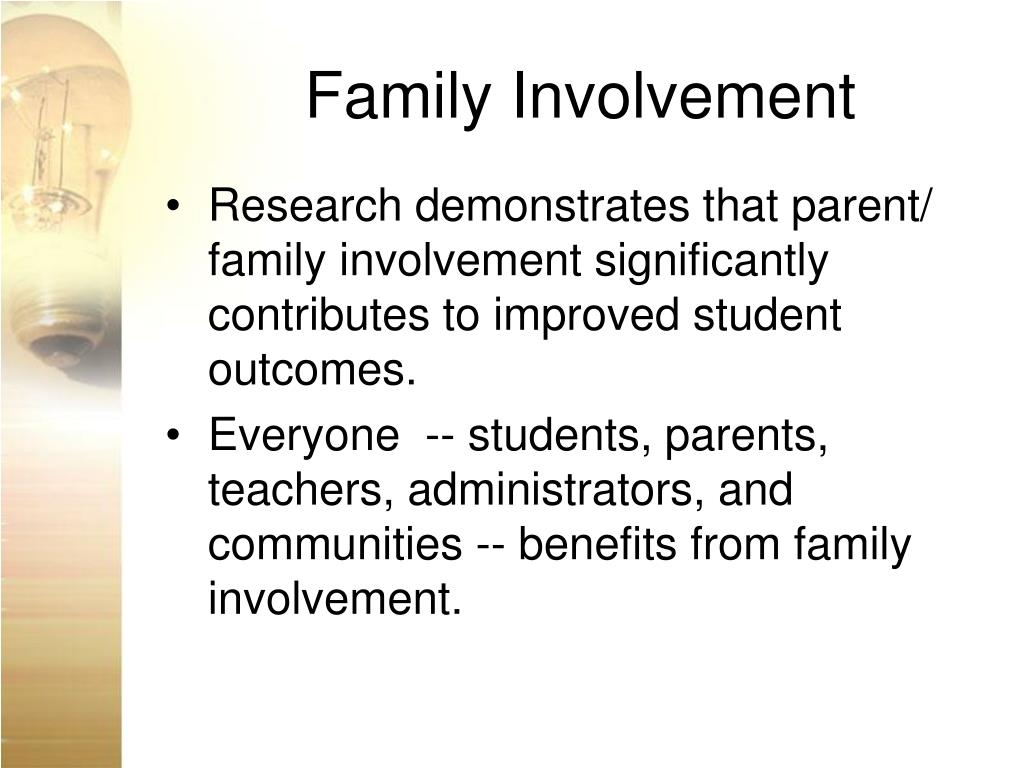 parent and family involvement in education Improving family involvement in special education  the emphasis on parent involvement in the part c program of idea for infants and toddlers is particularly.