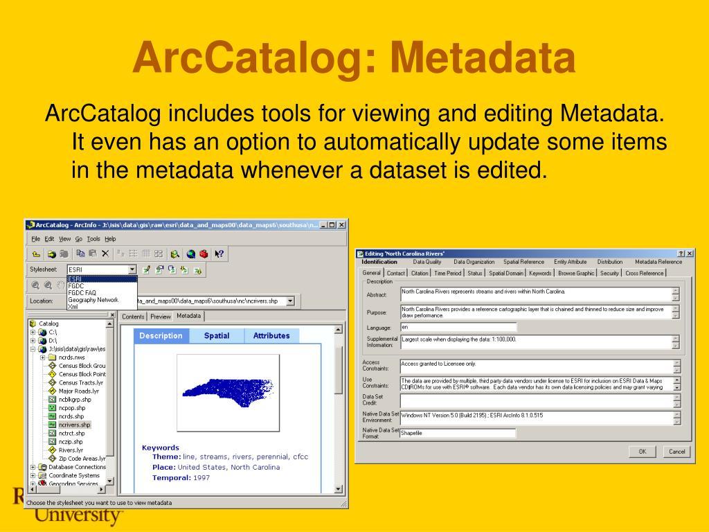 ArcCatalog: Metadata