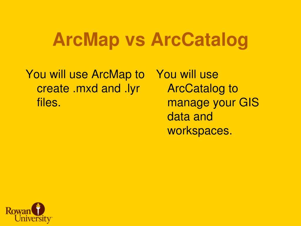 ArcMap vs ArcCatalog