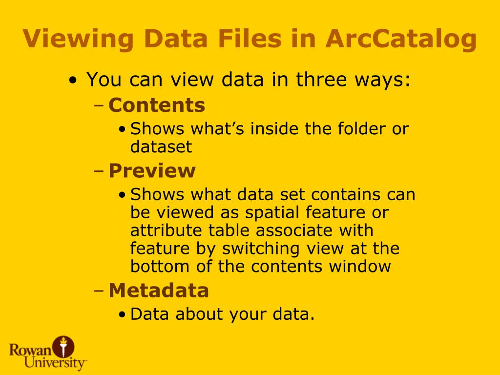 Viewing Data Files in ArcCatalog