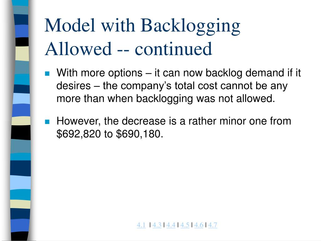 Model with Backlogging Allowed -- continued
