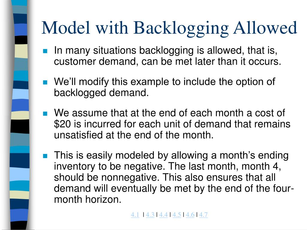 Model with Backlogging Allowed