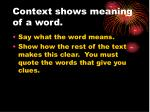 context shows meaning of a word