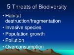 5 threats of biodiversity
