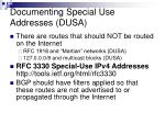 documenting special use addresses dusa