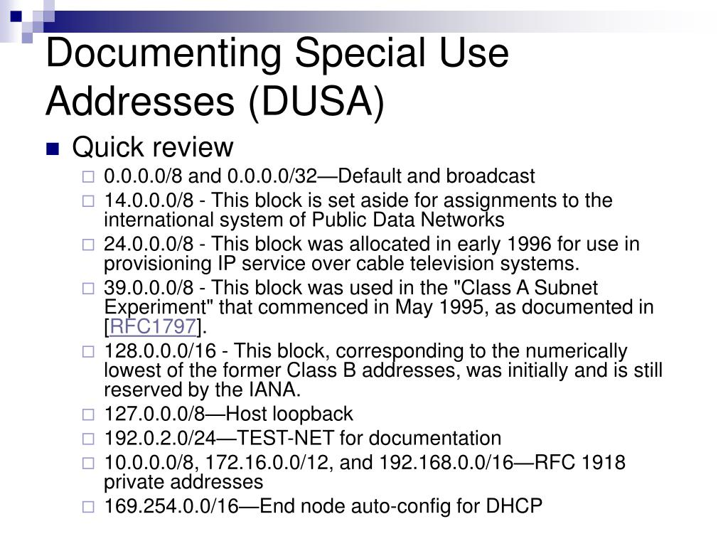 Documenting Special Use Addresses (DUSA)