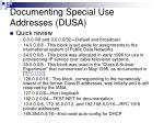 documenting special use addresses dusa48