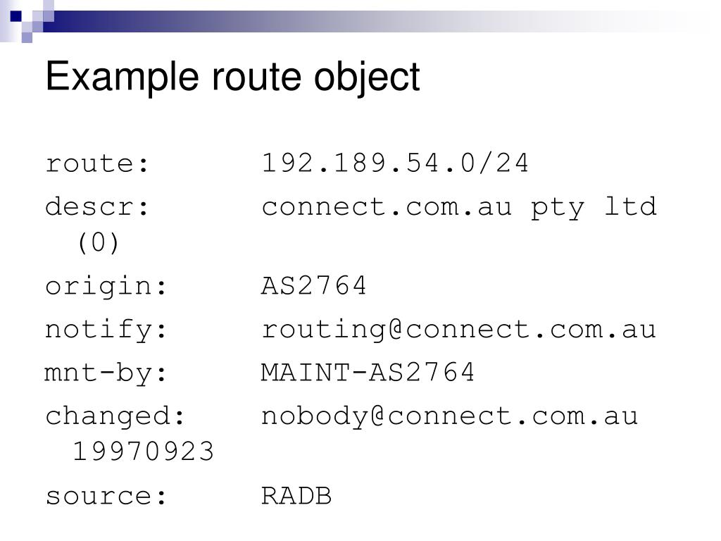 Example route object