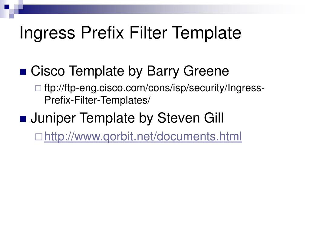 Ingress Prefix Filter Template