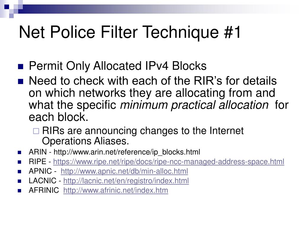 Net Police Filter Technique #1
