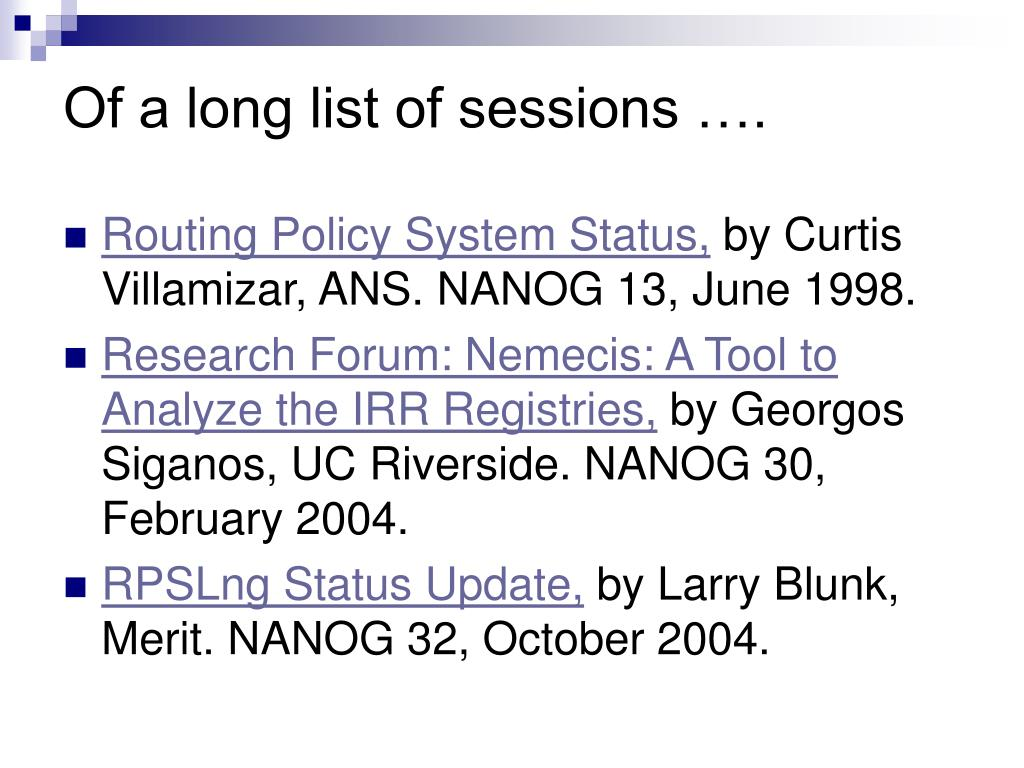 Of a long list of sessions ….