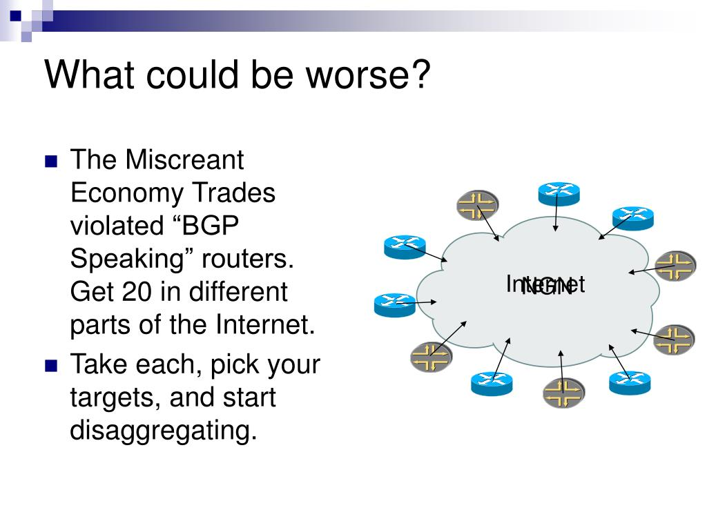 "The Miscreant Economy Trades violated ""BGP Speaking"" routers. Get 20 in different parts of the Internet."