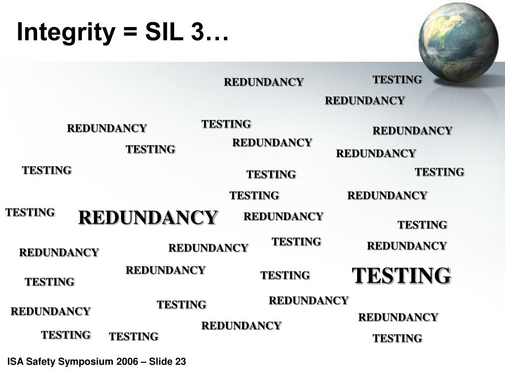 Integrity = SIL 3…