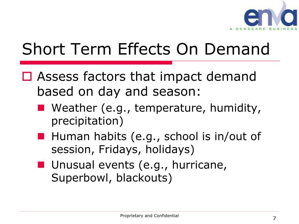 Short Term Effects On Demand