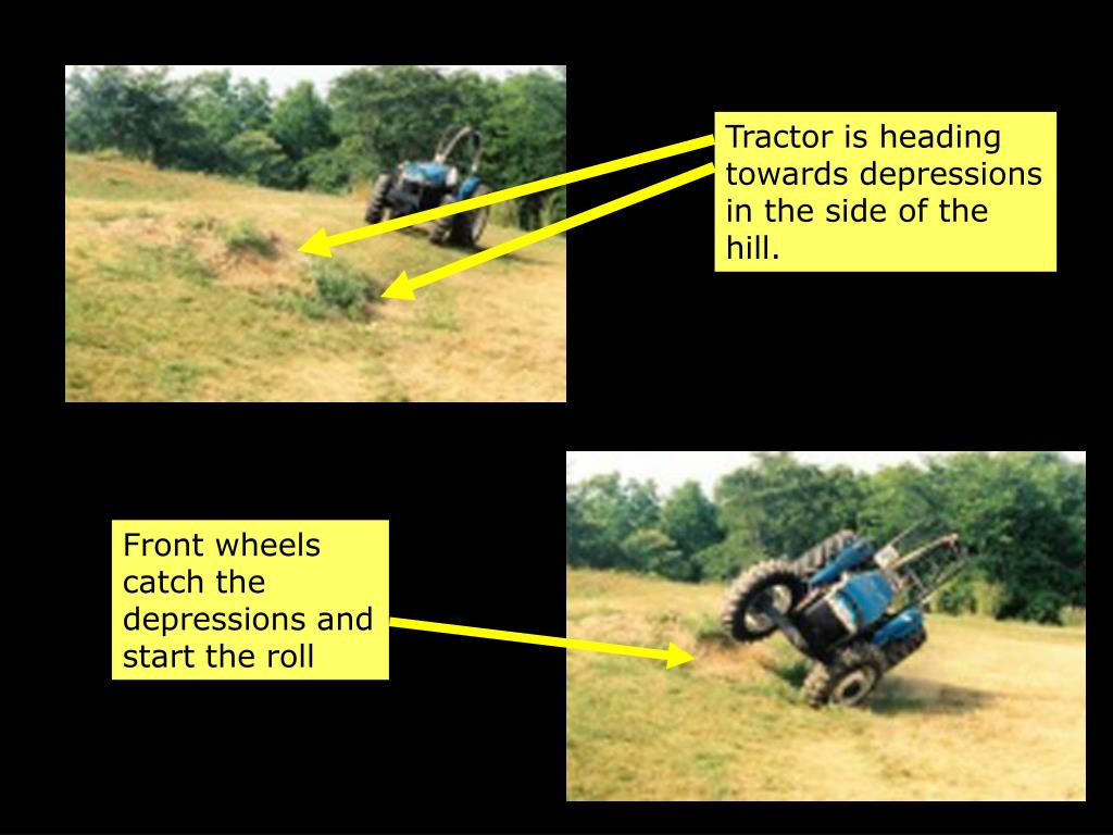 Tractor is heading towards depressions in the side of the hill.