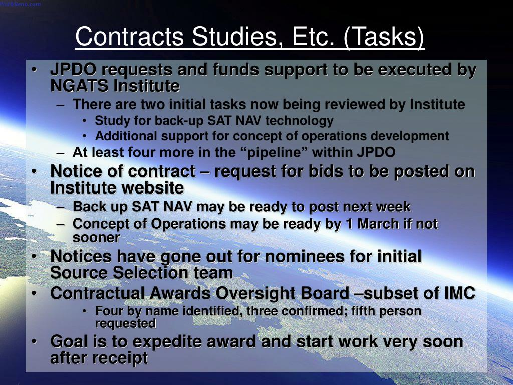 Contracts Studies, Etc. (Tasks)
