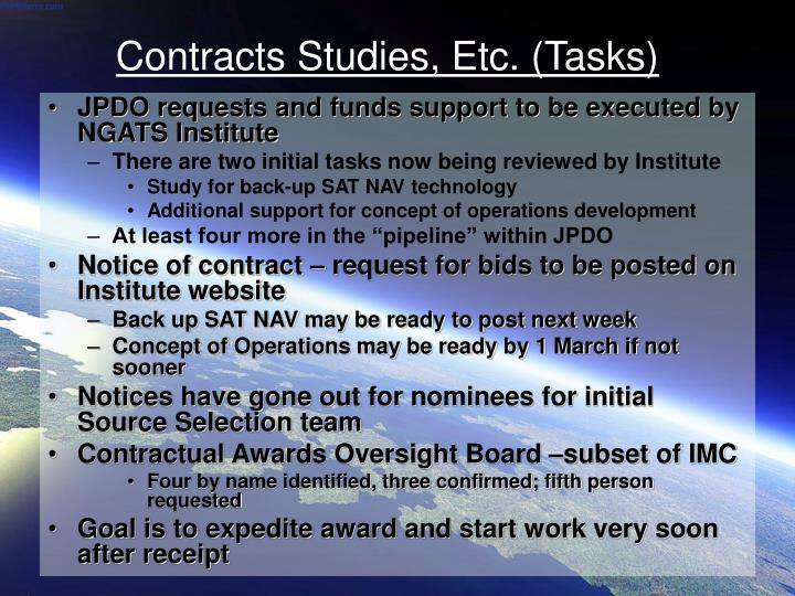Contracts studies etc tasks