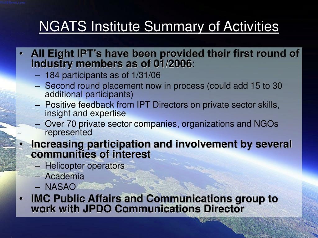 NGATS Institute Summary of Activities
