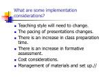 what are some implementation considerations
