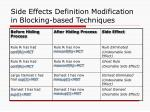 side effects definition modification in blocking based techniques