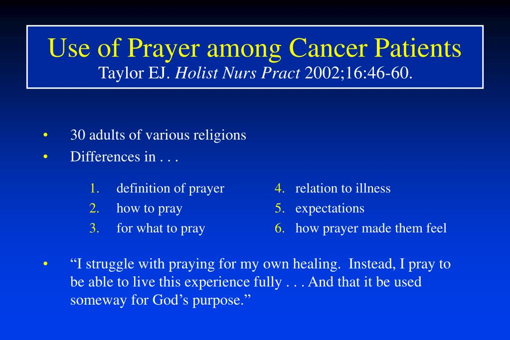 Use of Prayer among Cancer Patients