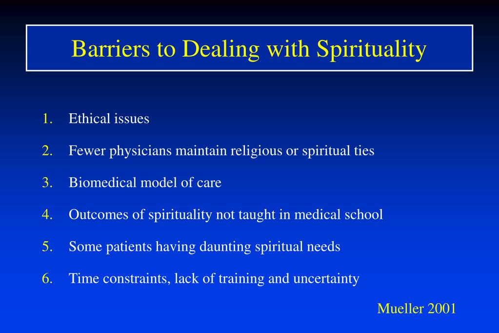 Barriers to Dealing with Spirituality