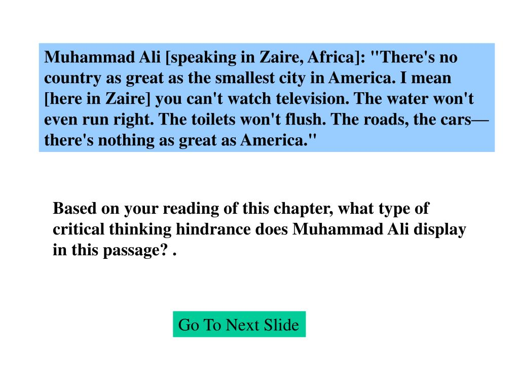 """Muhammad Ali [speaking in Zaire, Africa]: """"There's no"""