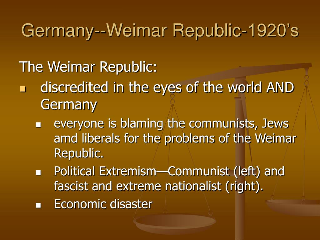 the issues of the weimar republic Home » modern world history » weimar germany » early problems of weimar germany  the first head of the weimar republic, and his government were in a very.