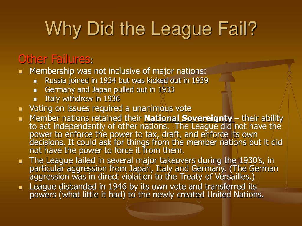 an analysis of the league of nations failure The league was meant to keep peace by collective security, however, the japanese refused to accept the terms of the league thus, this meant that if persuasion did not.