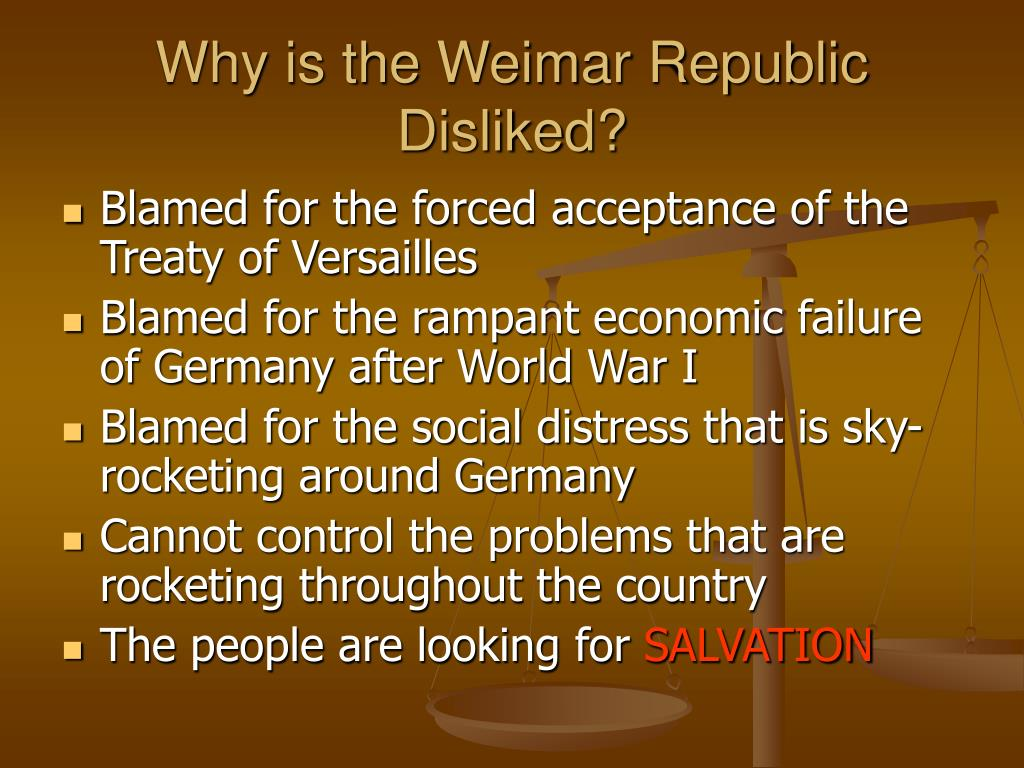 why was the weimar republic in The weimar republic, proclaimed on november 9, 1918, was born in the throes of military defeat and social revolution in january 1919, a national assembly was elected.