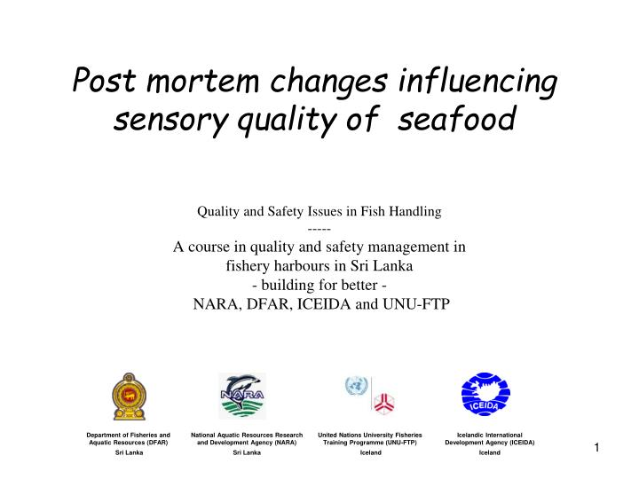 Post mortem changes influencing sensory quality of seafood l.jpg