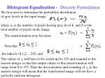 histogram equalization discrete formulation