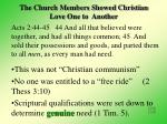 the church members showed christian love one to another