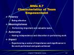 slide 8 7 characteristics of team empowerment