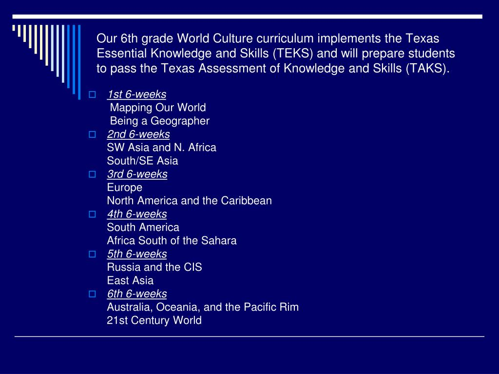 Our 6th grade World Culture curriculum implements the Texas Essential Knowledge and Skills (TEKS) and will prepare students to pass the Texas Assessment of Knowledge and Skills (TAKS).