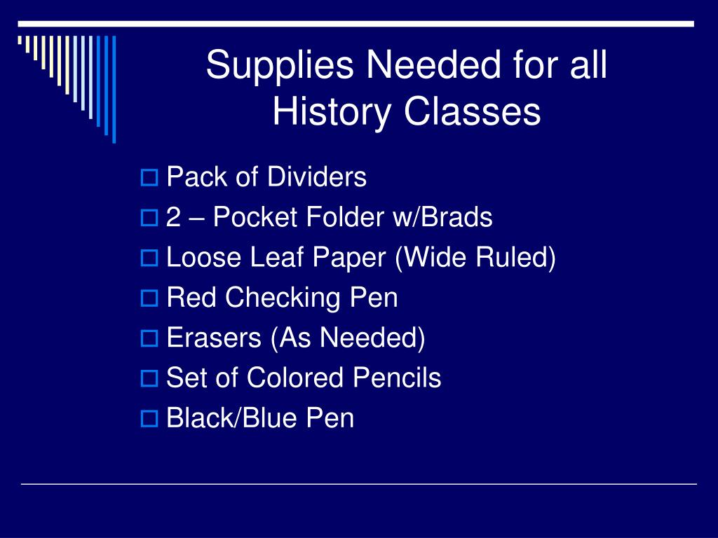 Supplies Needed for all