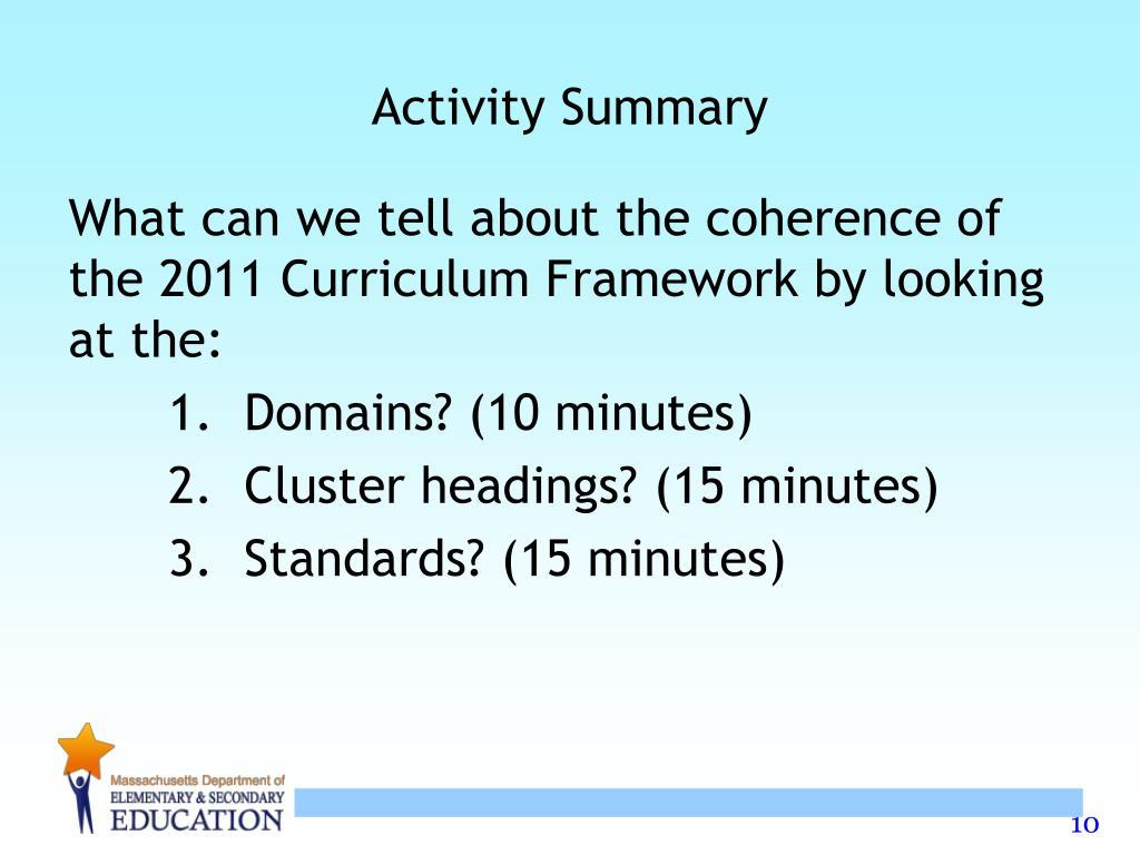 Activity Summary